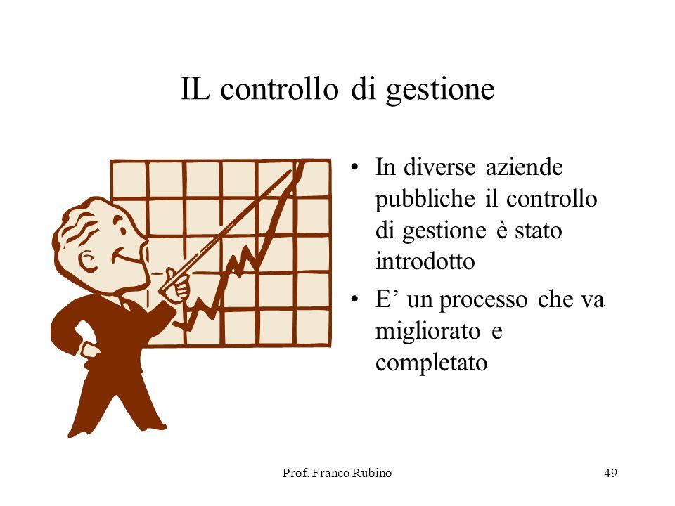 Prof. Franco Rubino49 IL controllo di gestione In diverse aziende pubbliche il controllo di gestione è stato introdotto E un processo che va migliorat