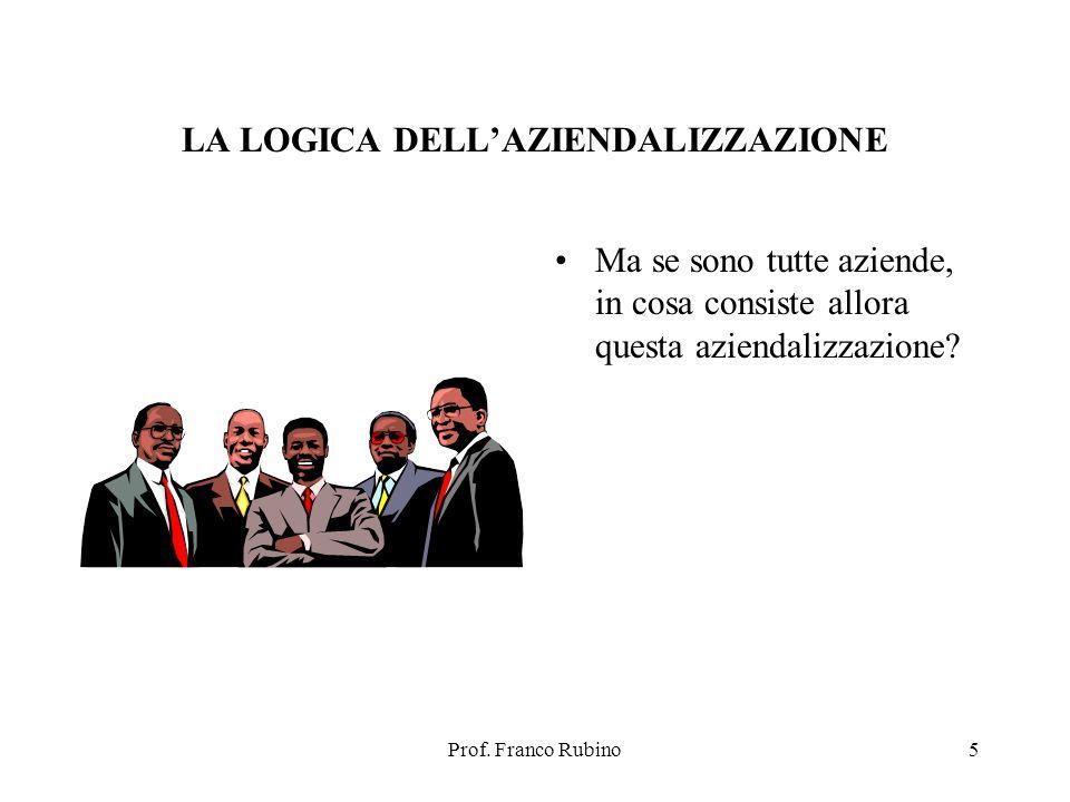 Prof. Franco Rubino5 LA LOGICA DELLAZIENDALIZZAZIONE Ma se sono tutte aziende, in cosa consiste allora questa aziendalizzazione?