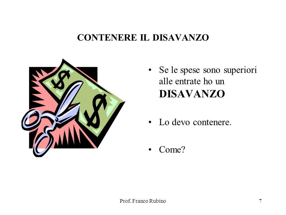Prof. Franco Rubino7 CONTENERE IL DISAVANZO Se le spese sono superiori alle entrate ho un DISAVANZO Lo devo contenere. Come?