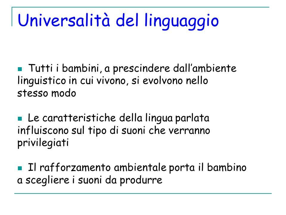 Universalità del linguaggio Tutti i bambini, a prescindere dallambiente linguistico in cui vivono, si evolvono nello stesso modo Le caratteristiche de