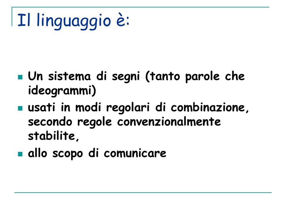 Il linguaggio è: Un sistema di segni (tanto parole che ideogrammi) usati in modi regolari di combinazione, secondo regole convenzionalmente stabilite,