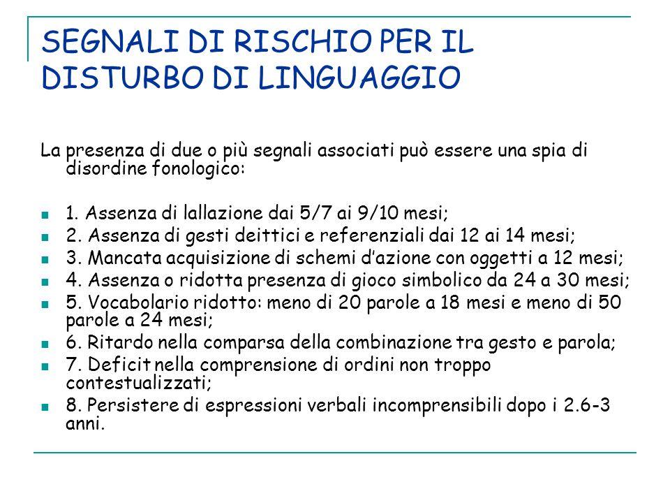 SEGNALI DI RISCHIO PER IL DISTURBO DI LINGUAGGIO La presenza di due o più segnali associati può essere una spia di disordine fonologico: 1. Assenza di
