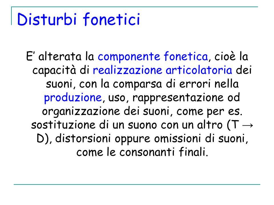 Disturbi fonetici E alterata la componente fonetica, cioè la capacità di realizzazione articolatoria dei suoni, con la comparsa di errori nella produz