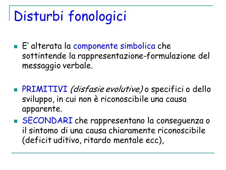 Disturbi fonologici E alterata la componente simbolica che sottintende la rappresentazione-formulazione del messaggio verbale. PRIMITIVI (disfasie evo