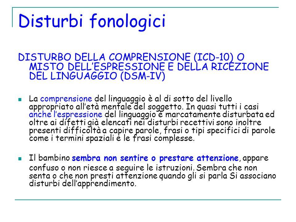 Disturbi fonologici DISTURBO DELLA COMPRENSIONE (ICD-10) O MISTO DELLESPRESSIONE E DELLA RICEZIONE DEL LINGUAGGIO (DSM-IV) La comprensione del linguag