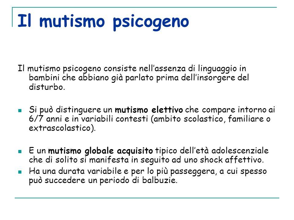 Il mutismo psicogeno Il mutismo psicogeno consiste nellassenza di linguaggio in bambini che abbiano già parlato prima dellinsorgere del disturbo. Si p