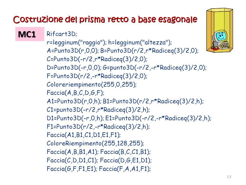 Costruzione del prisma retto a base esagonale MC1 Rifcart3D; r=legginum(