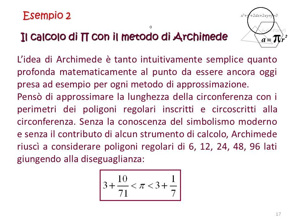 Il calcolo di con il metodo di Archimede Lidea di Archimede è tanto intuitivamente semplice quanto profonda matematicamente al punto da essere ancora