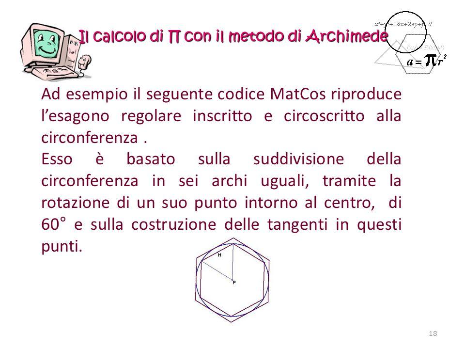 Il calcolo di con il metodo di Archimede Ad esempio il seguente codice MatCos riproduce lesagono regolare inscritto e circoscritto alla circonferenza.