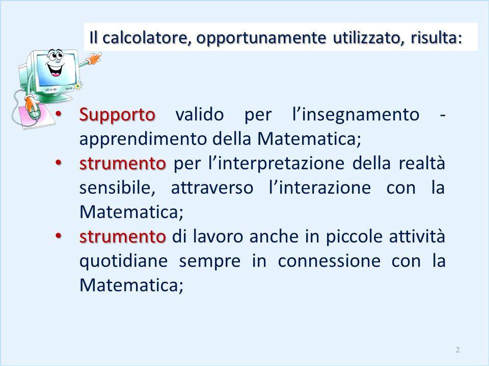 Supporto Supporto valido per linsegnamento - apprendimento della Matematica; strumento strumento per linterpretazione della realtà sensibile, attraver