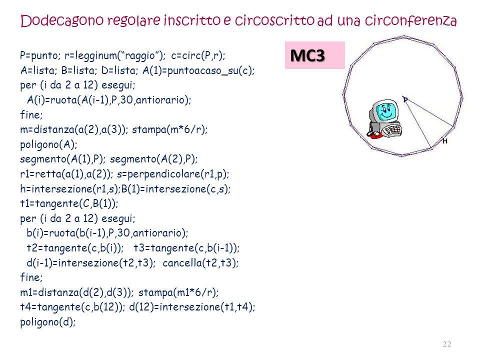 Dodecagono regolare inscritto e circoscritto ad una circonferenza P=punto; r=legginum(raggio); c=circ(P,r); A=lista; B=lista; D=lista; A(1)=puntoacaso