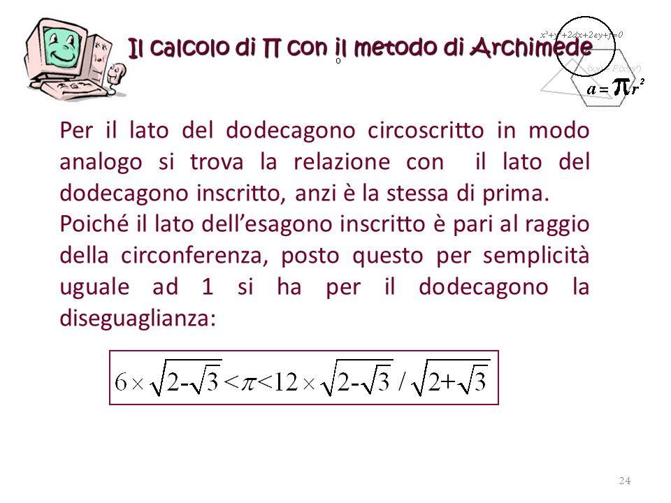 Il calcolo di con il metodo di Archimede Per il lato del dodecagono circoscritto in modo analogo si trova la relazione con il lato del dodecagono insc