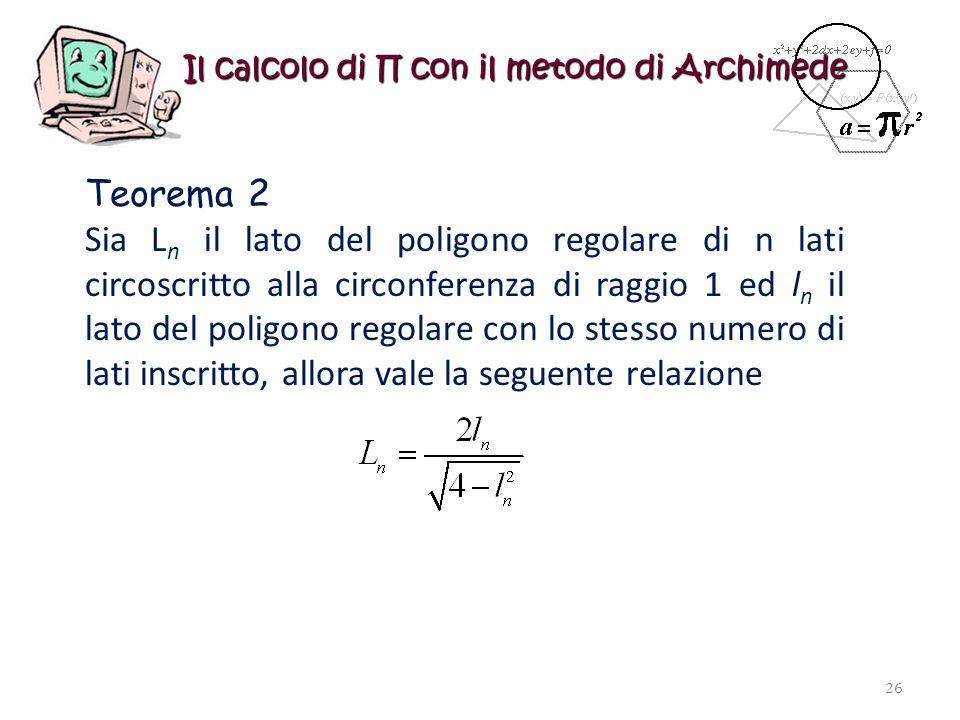 Il calcolo di con il metodo di Archimede Teorema 2 Sia L n il lato del poligono regolare di n lati circoscritto alla circonferenza di raggio 1 ed l n