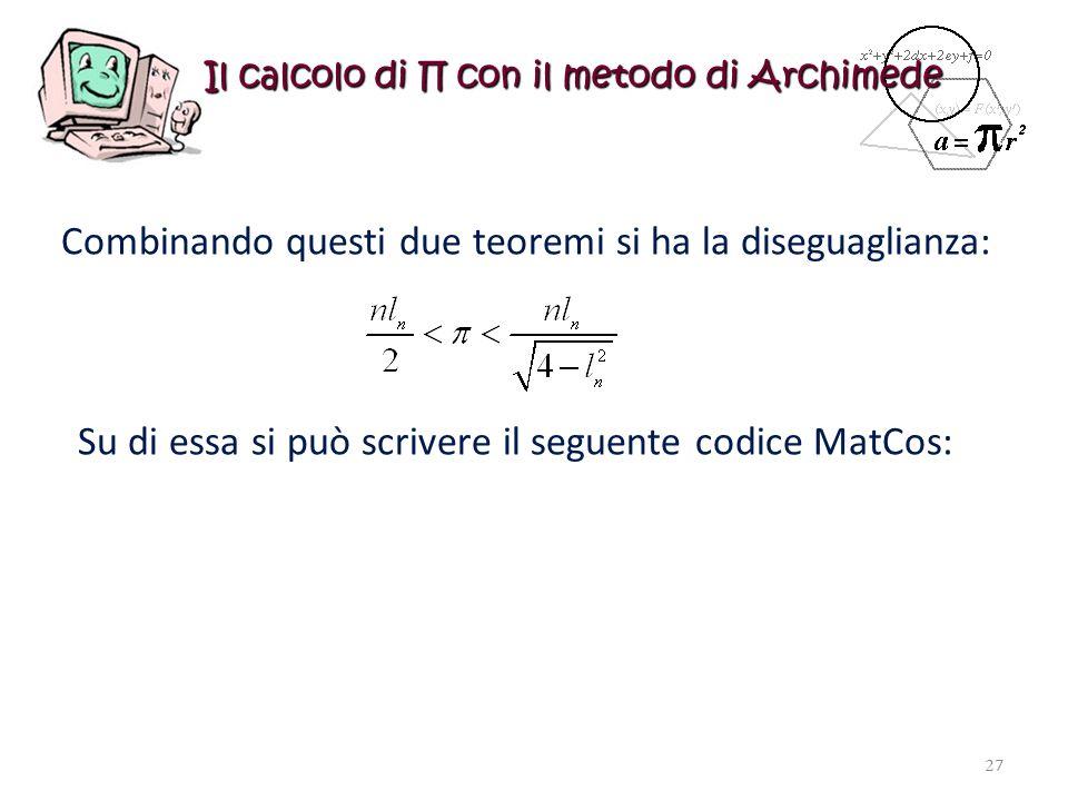Il calcolo di con il metodo di Archimede Combinando questi due teoremi si ha la diseguaglianza: Su di essa si può scrivere il seguente codice MatCos: