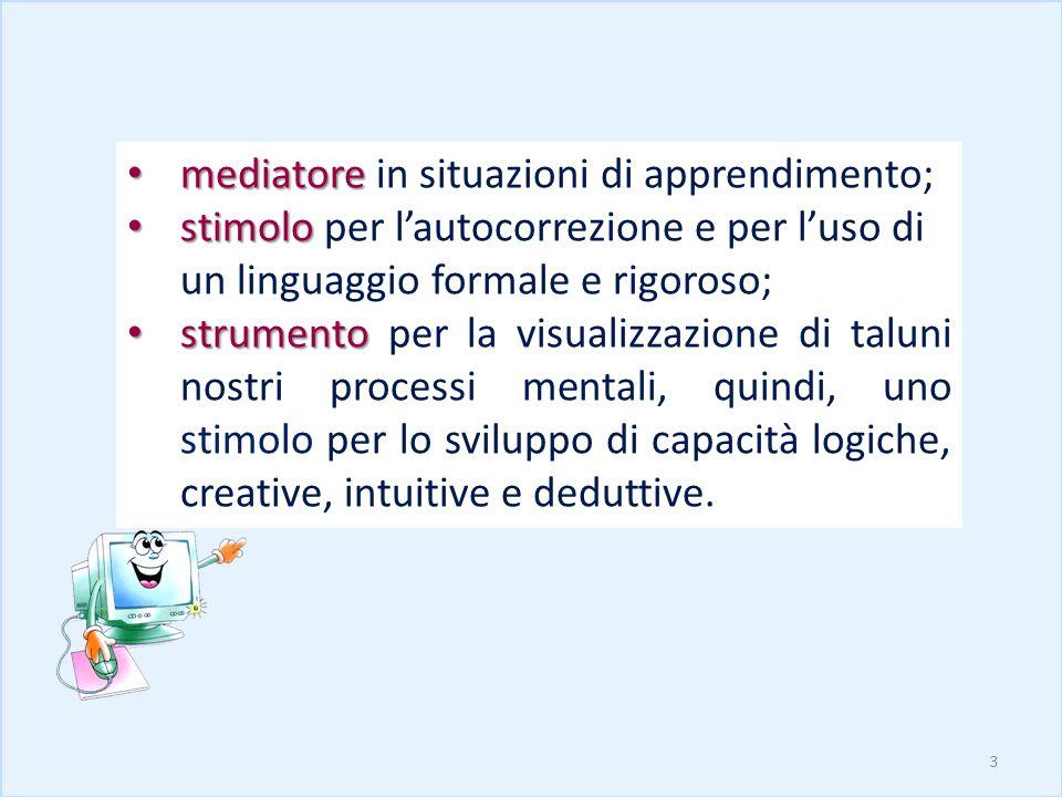 mediatore mediatore in situazioni di apprendimento; stimolo stimolo per lautocorrezione e per luso di un linguaggio formale e rigoroso; strumento stru
