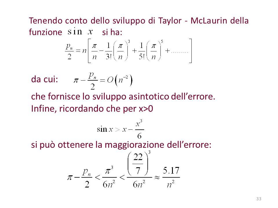 Tenendo conto dello sviluppo di Taylor - McLaurin della funzione si ha: da cui: che fornisce lo sviluppo asintotico dellerrore. Infine, ricordando che
