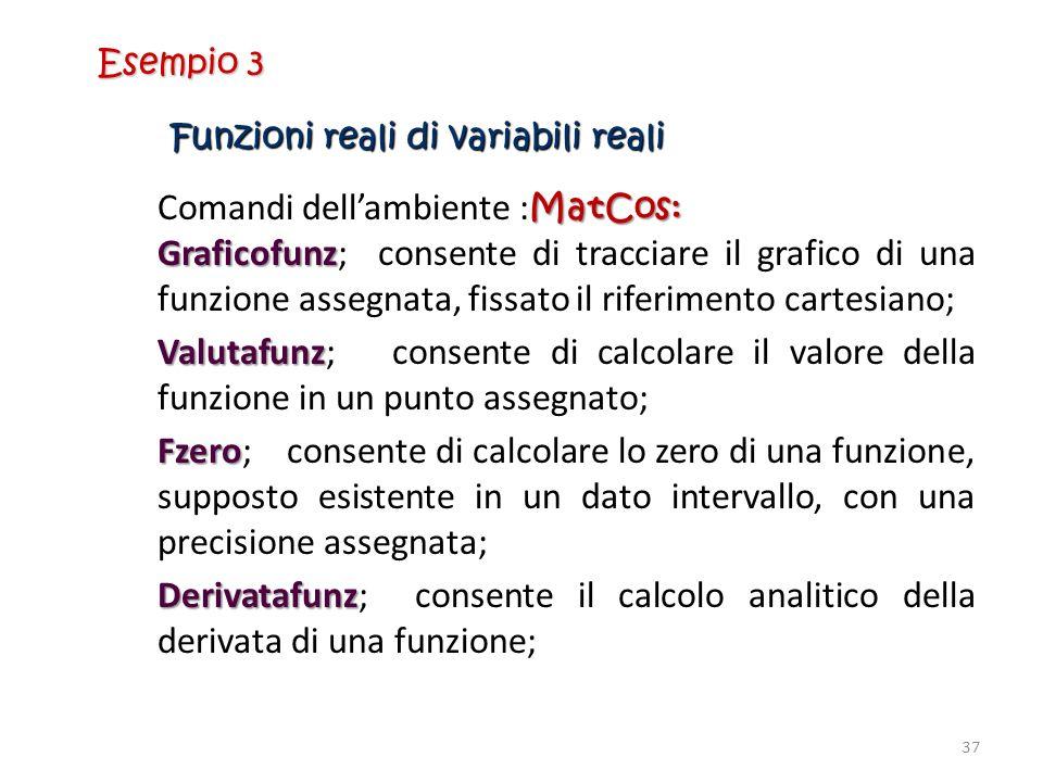 Funzioni reali di variabili reali MatCos: Comandi dellambiente : MatCos: Graficofunz Graficofunz; consente di tracciare il grafico di una funzione ass