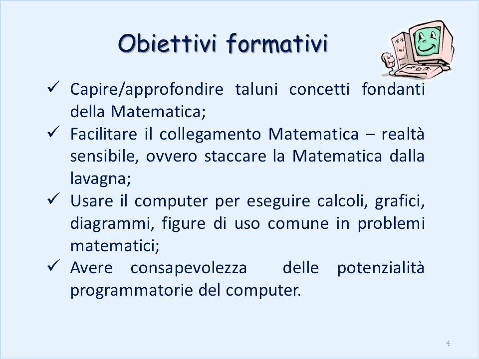 Obiettivi formativi Capire/approfondire taluni concetti fondanti della Matematica; Facilitare il collegamento Matematica – realtà sensibile, ovvero st