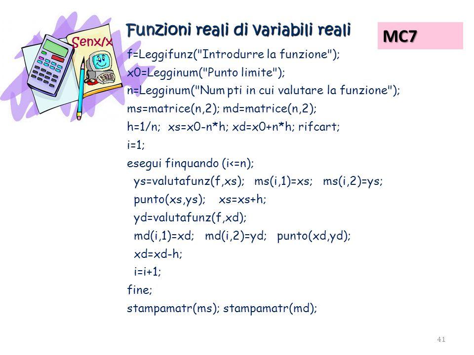 Funzioni reali di variabili reali Senx/x f=Leggifunz(