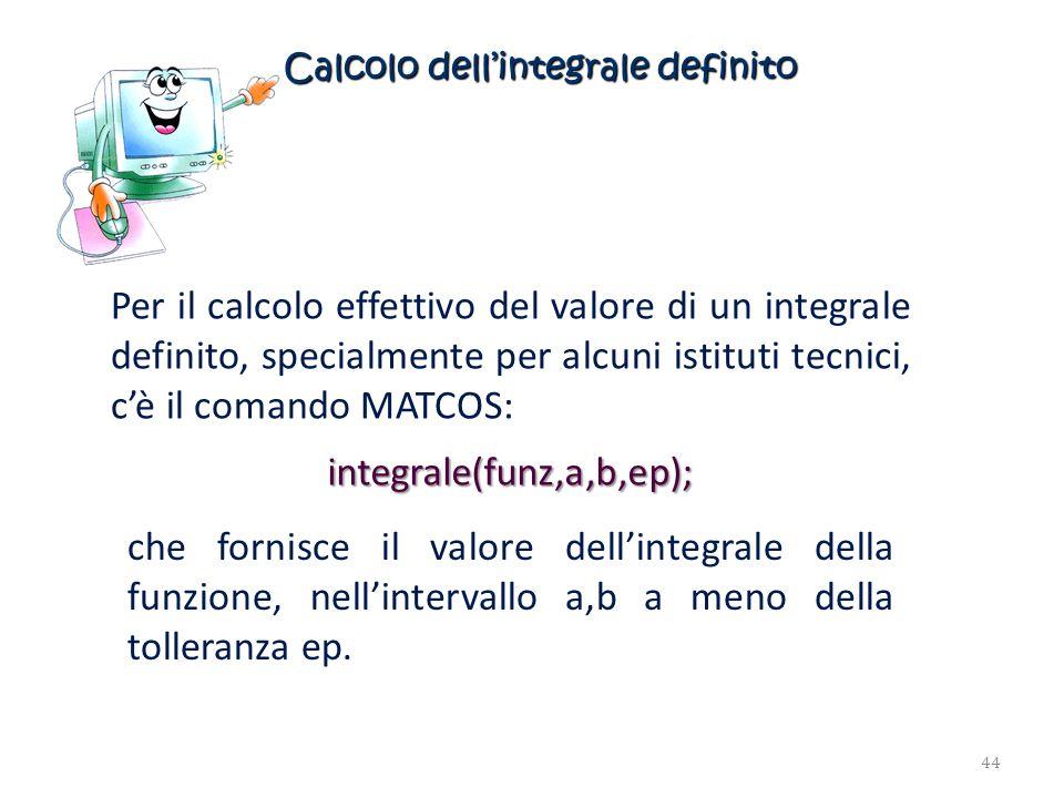 Calcolo dellintegrale definito Per il calcolo effettivo del valore di un integrale definito, specialmente per alcuni istituti tecnici, cè il comando M