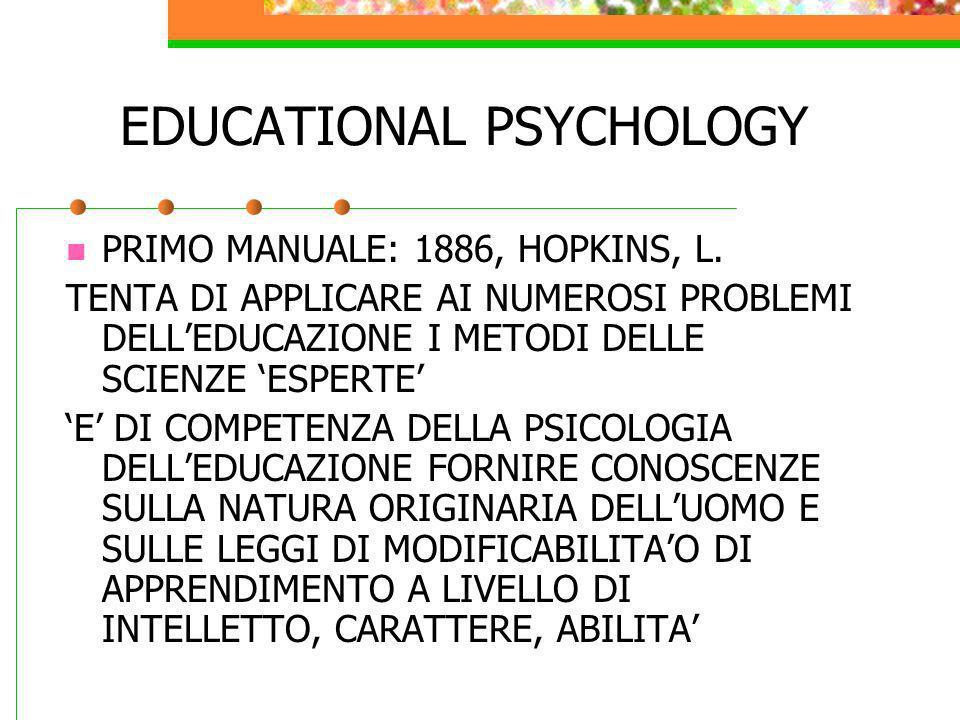EDUCATIONAL PSYCHOLOGY PRIMO MANUALE: 1886, HOPKINS, L. TENTA DI APPLICARE AI NUMEROSI PROBLEMI DELLEDUCAZIONE I METODI DELLE SCIENZE ESPERTE E DI COM