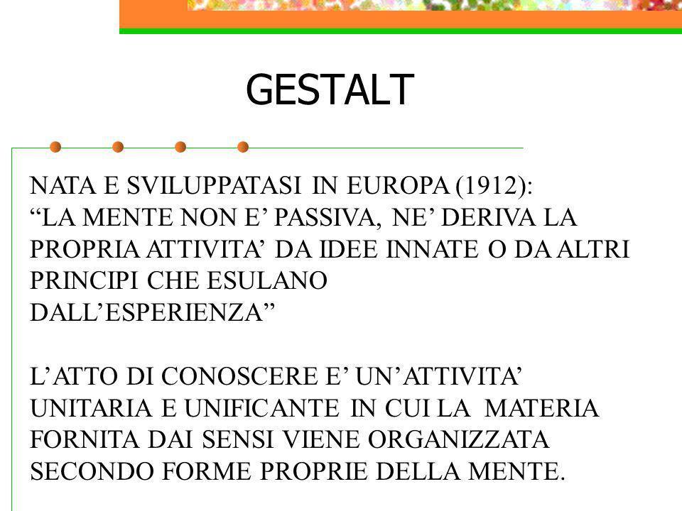 GESTALT NATA E SVILUPPATASI IN EUROPA (1912): LA MENTE NON E PASSIVA, NE DERIVA LA PROPRIA ATTIVITA DA IDEE INNATE O DA ALTRI PRINCIPI CHE ESULANO DAL