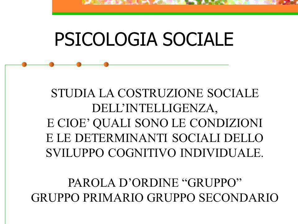 PSICOLOGIA SOCIALE STUDIA LA COSTRUZIONE SOCIALE DELLINTELLIGENZA, E CIOE QUALI SONO LE CONDIZIONI E LE DETERMINANTI SOCIALI DELLO SVILUPPO COGNITIVO