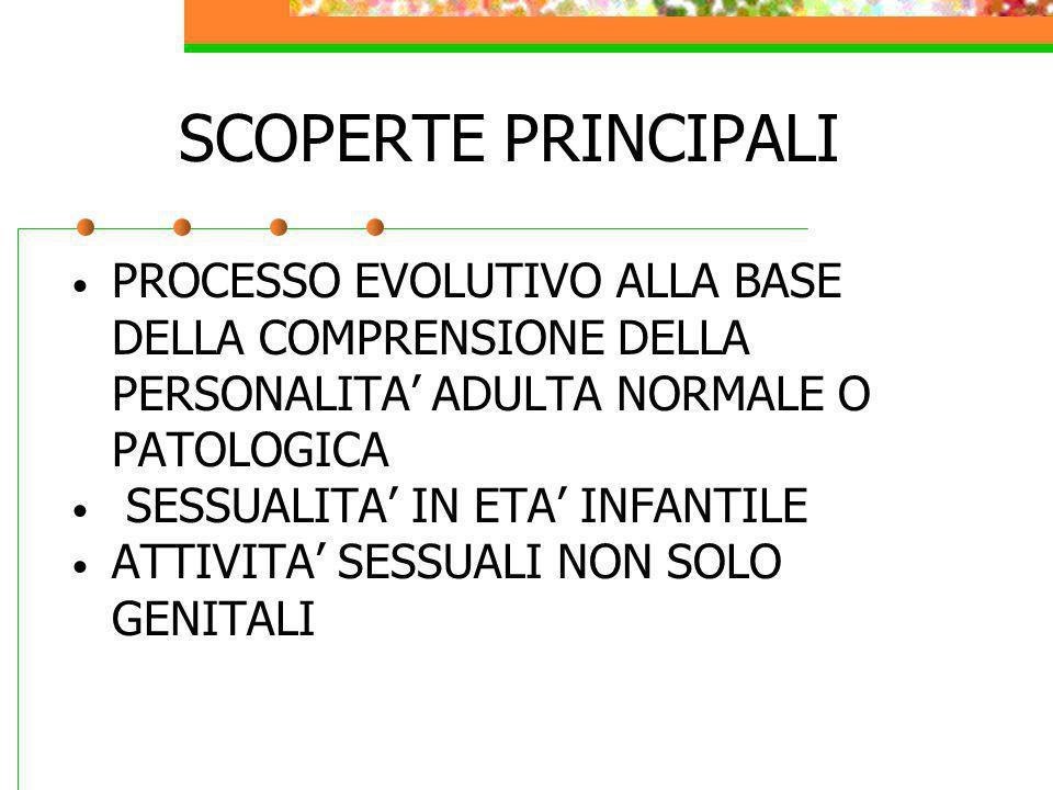 SCOPERTE PRINCIPALI PROCESSO EVOLUTIVO ALLA BASE DELLA COMPRENSIONE DELLA PERSONALITA ADULTA NORMALE O PATOLOGICA SESSUALITA IN ETA INFANTILE ATTIVITA