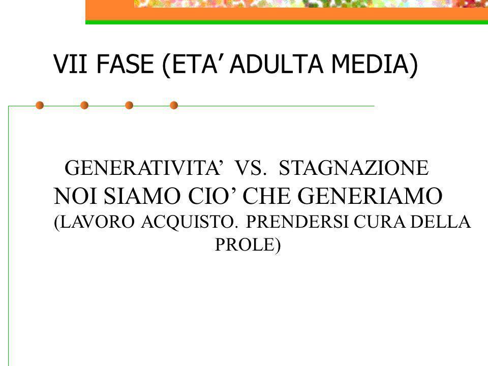 VII FASE (ETA ADULTA MEDIA) GENERATIVITA VS. STAGNAZIONE NOI SIAMO CIO CHE GENERIAMO (LAVORO ACQUISTO. PRENDERSI CURA DELLA PROLE)