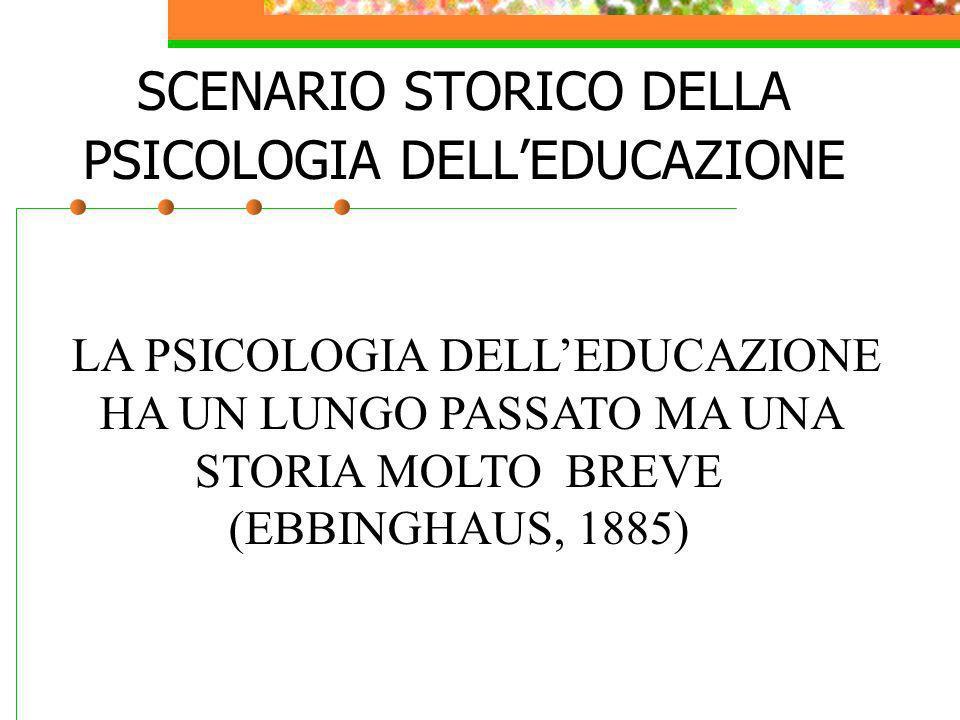 SCENARIO STORICO DELLA PSICOLOGIA DELLEDUCAZIONE LA PSICOLOGIA DELLEDUCAZIONE HA UN LUNGO PASSATO MA UNA STORIA MOLTO BREVE (EBBINGHAUS, 1885)