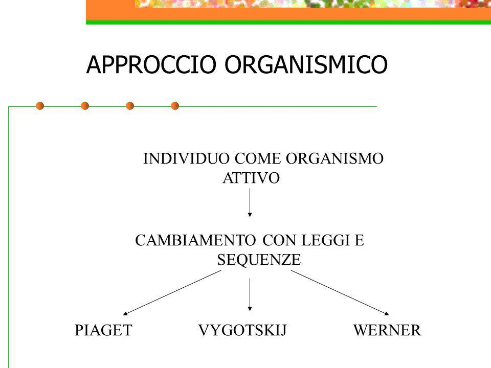 APPROCCIO ORGANISMICO INDIVIDUO COME ORGANISMO ATTIVO CAMBIAMENTO CON LEGGI E SEQUENZE PIAGET VYGOTSKIJ WERNER