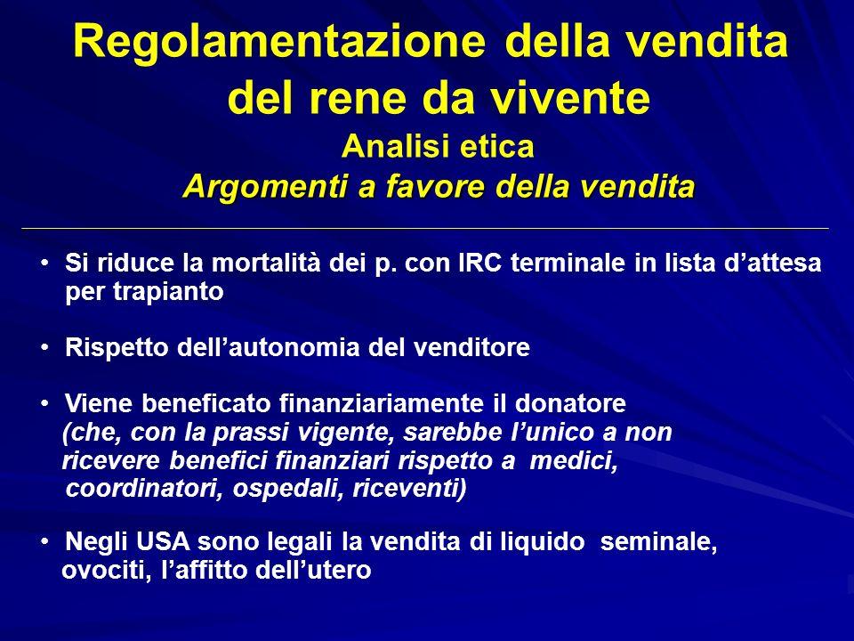 Regolamentazione della vendita del rene da vivente Analisi etica Argomenti a favore della vendita Si riduce la mortalità dei p. con IRC terminale in l