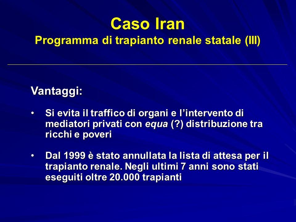 Caso Iran Programma di trapianto renale statale (III) Vantaggi: Si evita il traffico di organi e lintervento di mediatori privati con equa (?) distrib