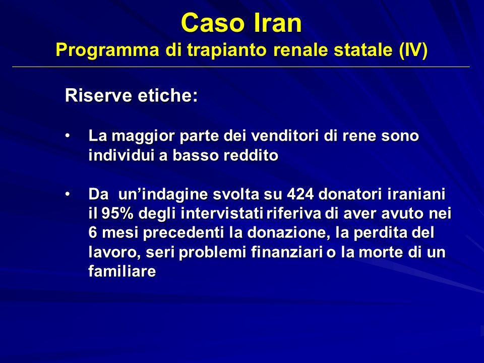 Caso Iran Programma di trapianto renale statale (IV) Riserve etiche: La maggior parte dei venditori di rene sono individui a basso redditoLa maggior p