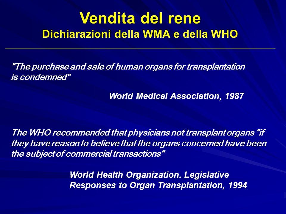 Vendita del rene Dichiarazioni della WMA e della WHO The WHO recommended that physicians not transplant organs