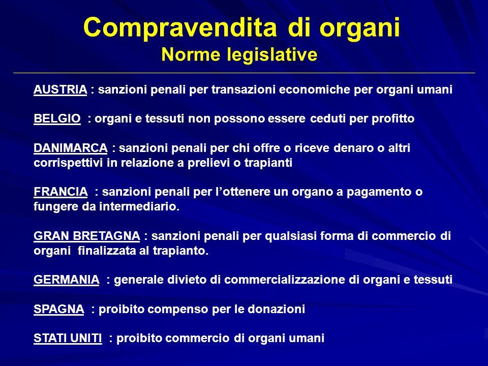 AUSTRIA : sanzioni penali per transazioni economiche per organi umani BELGIO : organi e tessuti non possono essere ceduti per profitto DANIMARCA : san