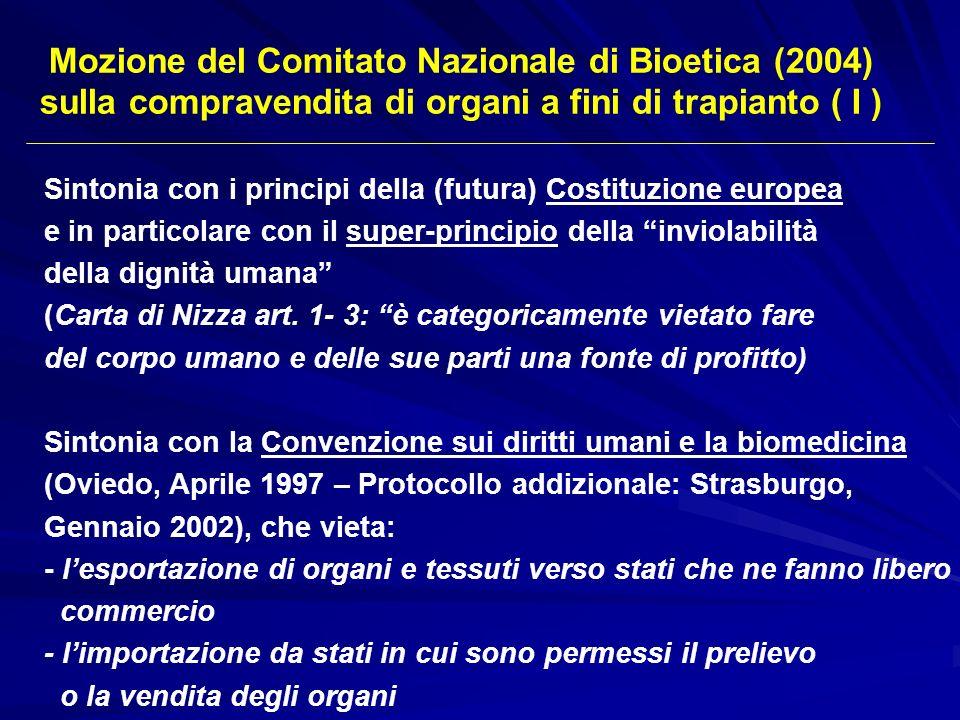 Sintonia con i principi della (futura) Costituzione europea e in particolare con il super-principio della inviolabilità della dignità umana (Carta di