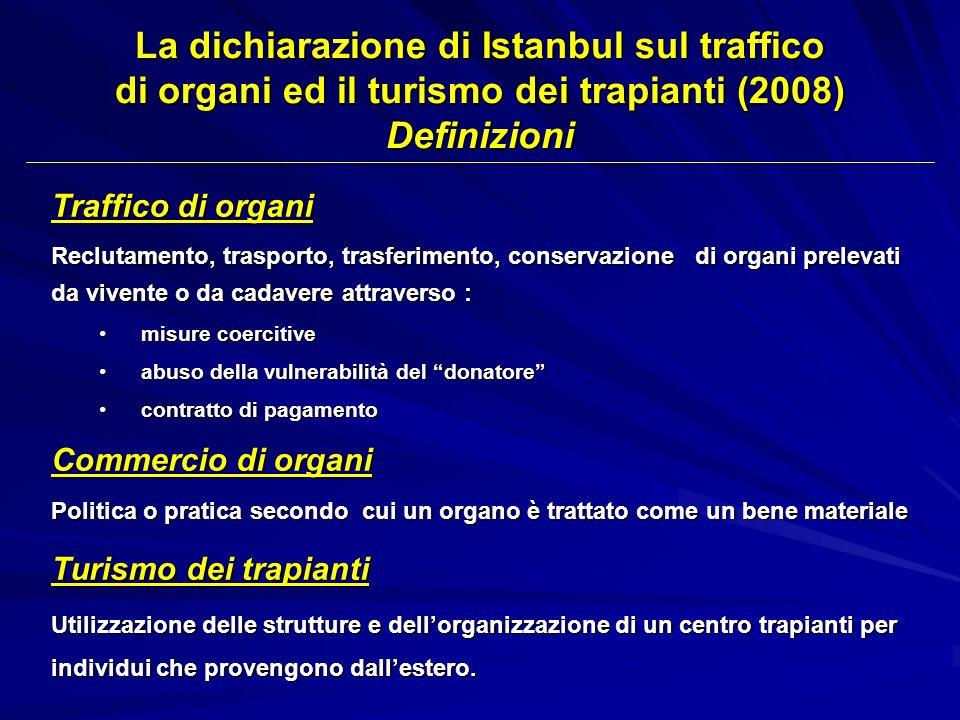La dichiarazione di Istanbul sul traffico di organi ed il turismo dei trapianti (2008) Definizioni Traffico di organi Reclutamento, trasporto, trasfer