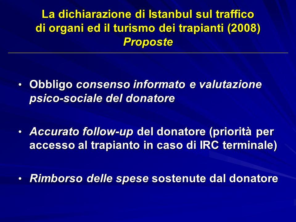 La dichiarazione di Istanbul sul traffico di organi ed il turismo dei trapianti (2008) Proposte Obbligo consenso informato e valutazione psico-sociale