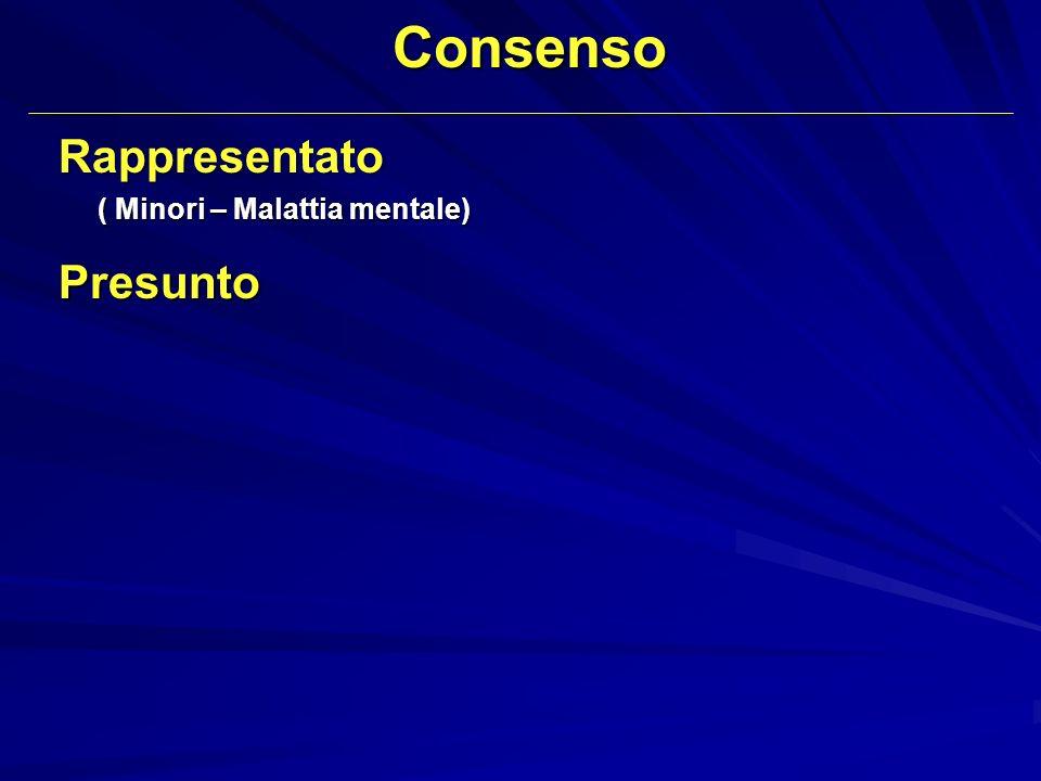 ConsensoRappresentato ( Minori – Malattia mentale) ( Minori – Malattia mentale) Presunto
