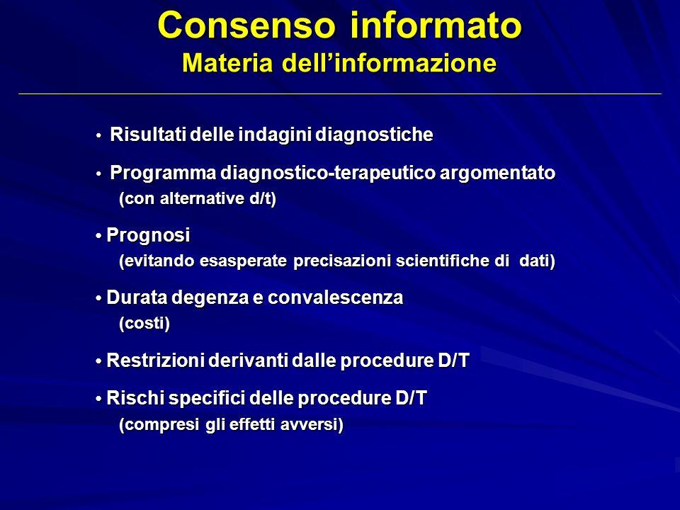 Risultati delle indagini diagnostiche Risultati delle indagini diagnostiche Programma diagnostico-terapeutico argomentato Programma diagnostico-terape