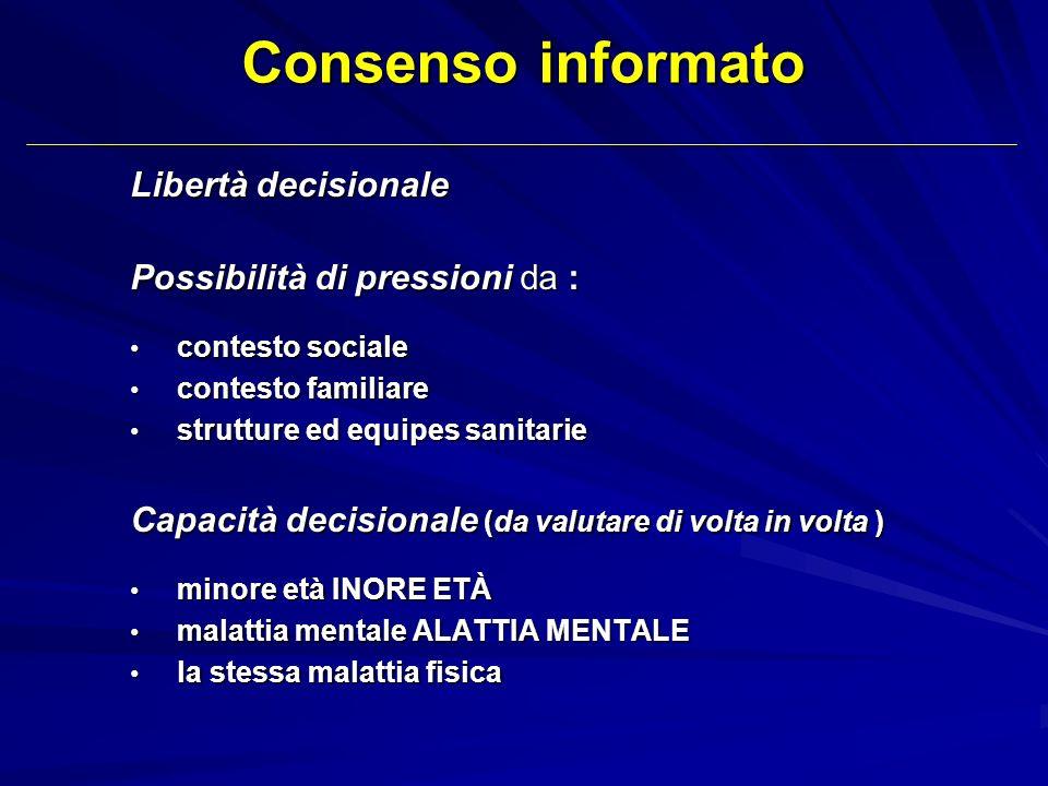 Libertà decisionale Possibilità di pressioni da : contesto sociale contesto sociale contesto familiare contesto familiare strutture ed equipes sanitar