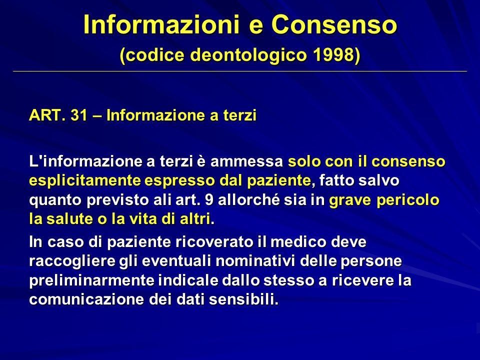 ART. 31 – Informazione a terzi L'informazione a terzi è ammessa solo con il consenso esplicitamente espresso dal paziente, fatto salvo quanto previsto