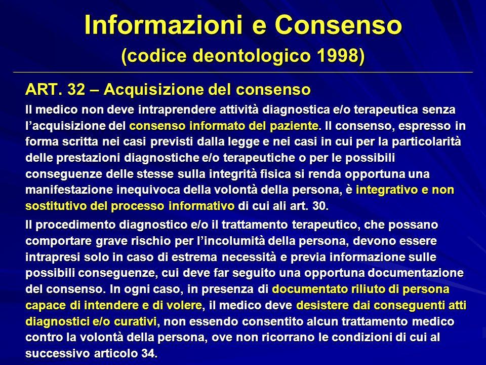 ART. 32 – Acquisizione del consenso II medico non deve intraprendere attività diagnostica e/o terapeutica senza lacquisizione del consenso informato d