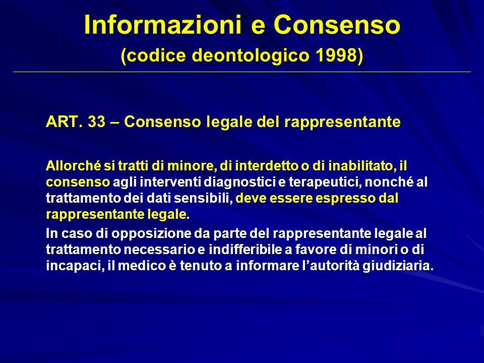ART. 33 – Consenso legale del rappresentante Allorché si tratti di minore, di interdetto o di inabilitato, il consenso agli interventi diagnostici e t