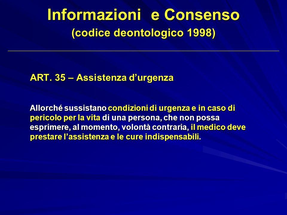 ART. 35 – Assistenza durgenza Allorché sussistano condizioni di urgenza e in caso di pericolo per la vita di una persona, che non possa esprimere, al