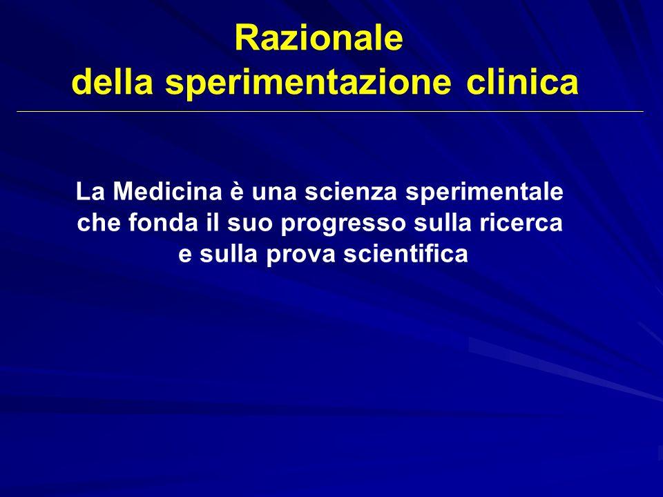 La Medicina è una scienza sperimentale che fonda il suo progresso sulla ricerca e sulla prova scientifica Razionale della sperimentazione clinica