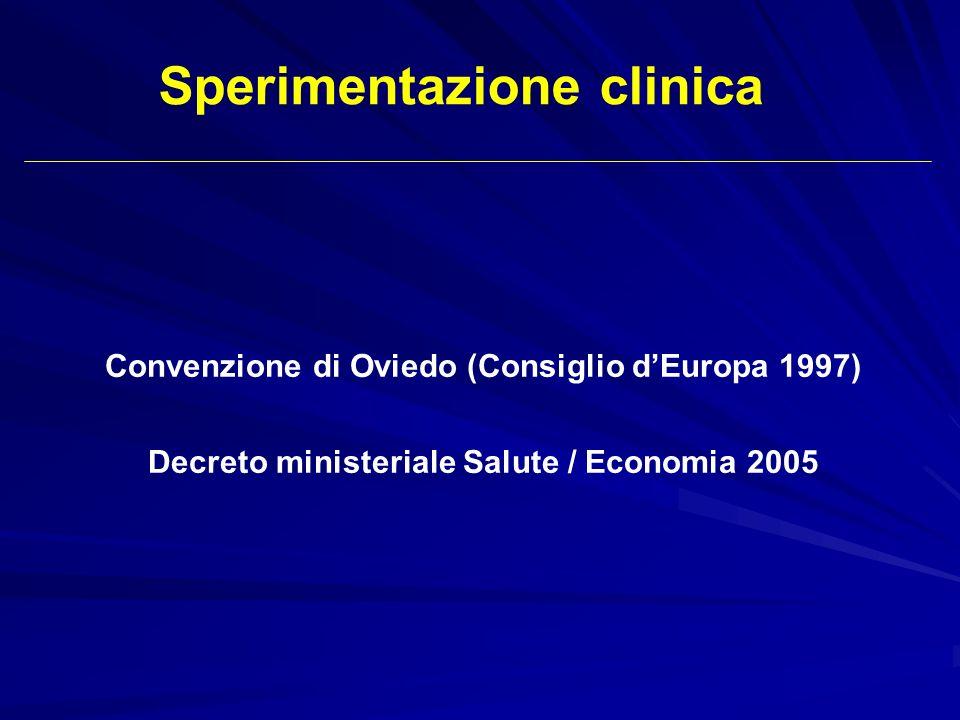 Convenzione di Oviedo (Consiglio dEuropa 1997) Decreto ministeriale Salute / Economia 2005 Sperimentazione clinica