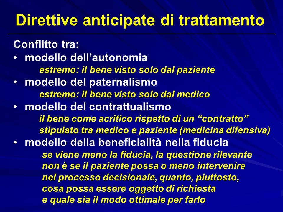 Conflitto tra: modello dellautonomia estremo: il bene visto solo dal paziente modello del paternalismo estremo: il bene visto solo dal medico modello