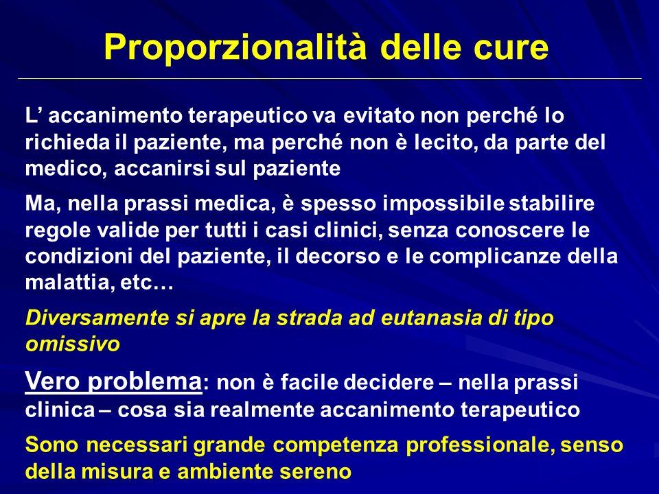 L accanimento terapeutico va evitato non perché lo richieda il paziente, ma perché non è lecito, da parte del medico, accanirsi sul paziente Ma, nella